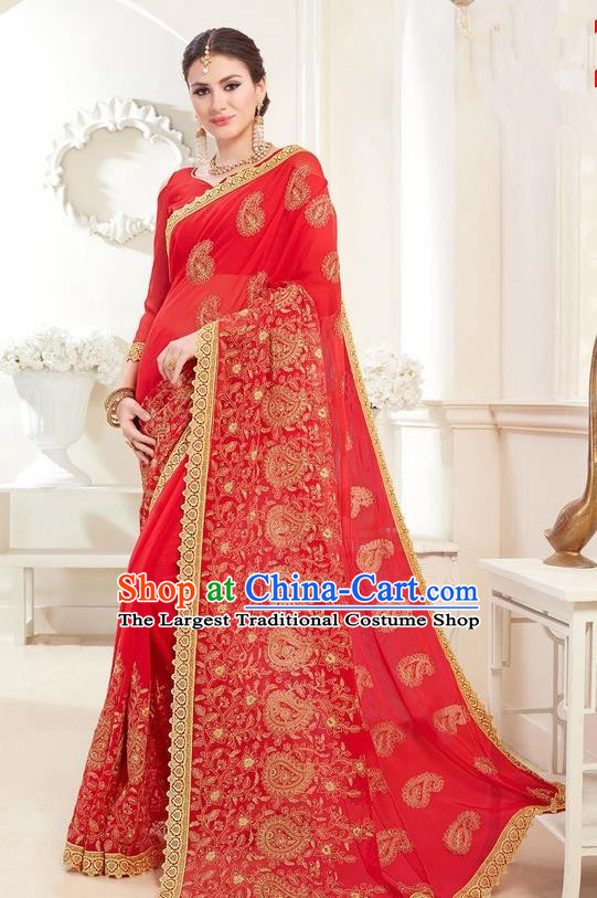 Asian India Traditional Court Princess Red Sari Dress Indian Bollywood Bride Embroidered Costume for Women
