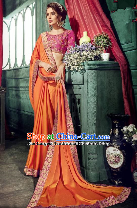 Asian India Traditional Court Princess Orange Sari Dress Indian Bollywood Bride Embroidered Costume for Women