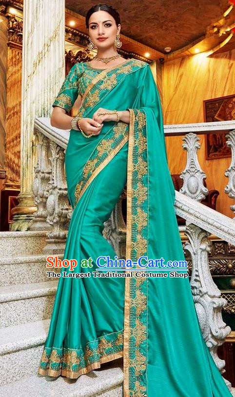 Asian India Traditional Court Princess Green Sari Dress Indian Bollywood Bride Embroidered Costume for Women
