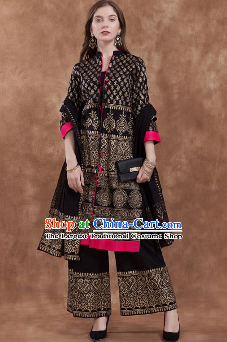 South Asian India Traditional Black Costume Asia Indian National Punjabi Suit for Women