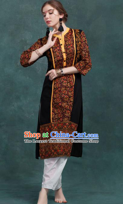 South Asian India Traditional Printing Costume Asia Indian National Punjabi Suit for Women