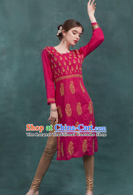 South Asian India Traditional Rosy Dress Costume Asia Indian National Punjabi Suit for Women
