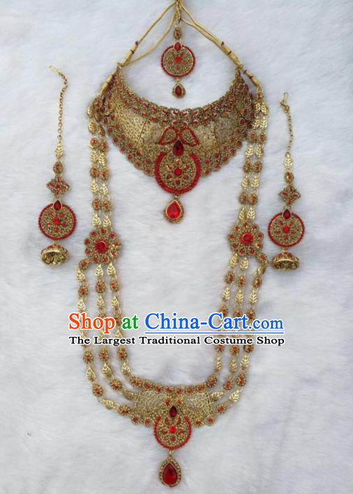 South Asian India Traditional Red Crystal Jewelry Accessories Indian Bollywood Necklace Earrings Hair Clasp for Women