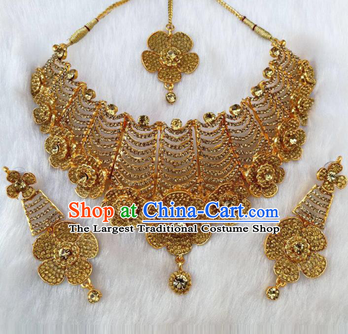 South Asian India Traditional Jewelry Accessories Indian Bollywood Golden Crystal Necklace Earrings Hair Clasp for Women