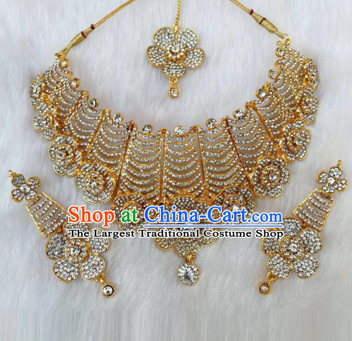 South Asian India Traditional Jewelry Accessories Indian Bollywood Crystal Necklace Earrings Hair Clasp for Women