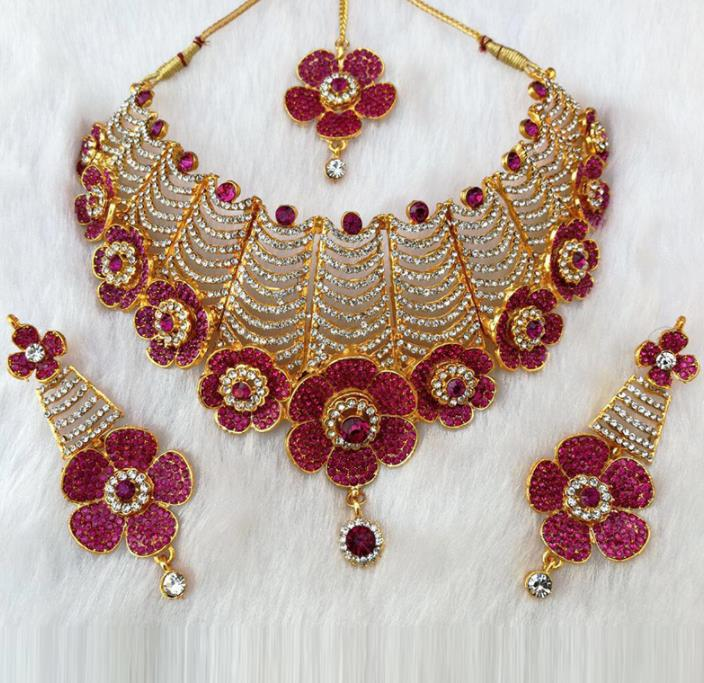 South Asian India Traditional Jewelry Accessories Indian Bollywood Rosy Crystal Necklace Earrings Hair Clasp for Women
