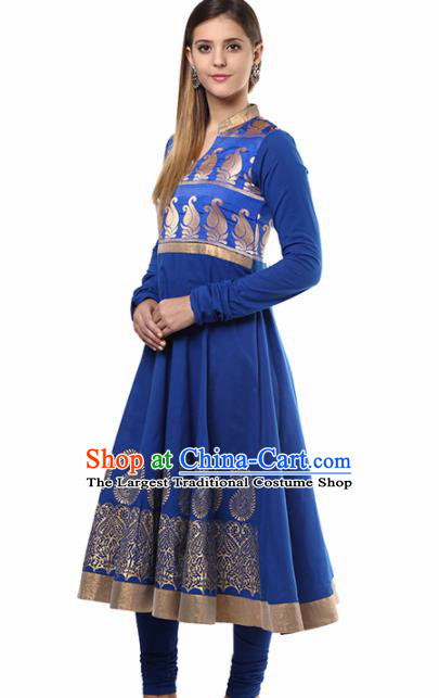 South Asian India Traditional Punjabi Royalblue Dress Costume Asia Indian National Costume for Women