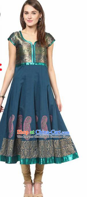 South Asian India Traditional Punjabi Peacock Blue Dress Costume Asia Indian National Costume for Women