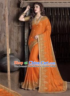 Asian India Traditional Orange Sari Dress Indian Court Princess Bollywood Embroidered Costume for Women