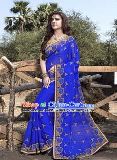 Asian India Traditional Royalblue Sari Dress Indian Court Princess Bollywood Embroidered Costume for Women