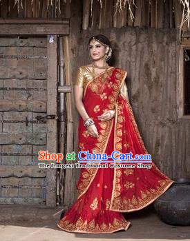 Asian India Traditional Red Sari Dress Indian Court Princess Bollywood Embroidered Costume for Women