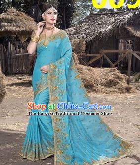 Asian India Traditional Light Blue Sari Dress Indian Court Princess Bollywood Embroidered Costume for Women