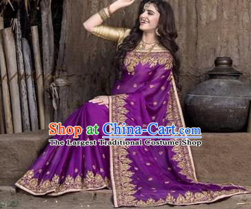Asian India Traditional Purple Sari Dress Indian Court Princess Bollywood Embroidered Costume for Women