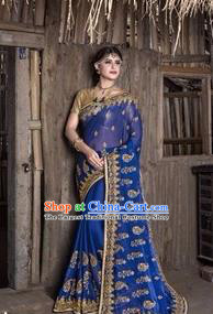 Asian India Traditional Deep Blue Sari Dress Indian Court Princess Bollywood Embroidered Costume for Women
