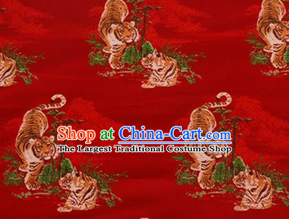 Chinese Traditional Tigers Pattern Design Silk Fabric Red Brocade Tang Suit Fabric Material