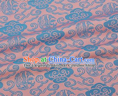 Chinese Traditional Clouds Pattern Design Silk Fabric Pink Brocade Tang Suit Fabric Material
