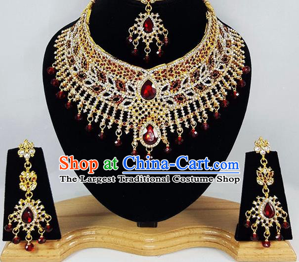 Indian Traditional Bollywood Crystal Necklace Earrings and Eyebrows Pendant India Court Princess Jewelry Accessories for Women