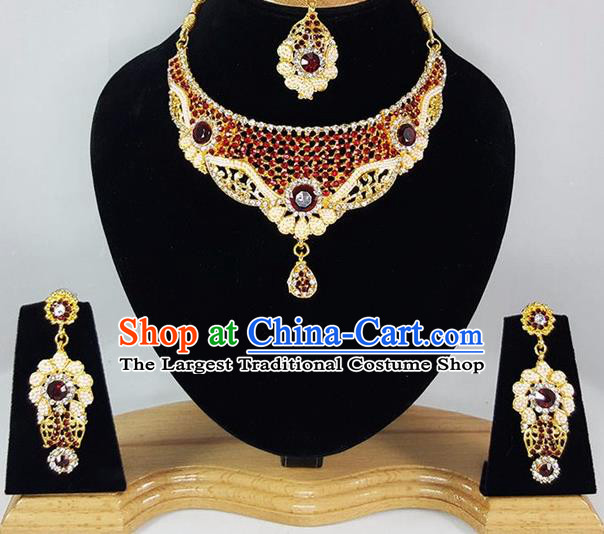 Indian Traditional Bollywood Necklace Earrings and Eyebrows Pendant India Court Princess Jewelry Accessories for Women