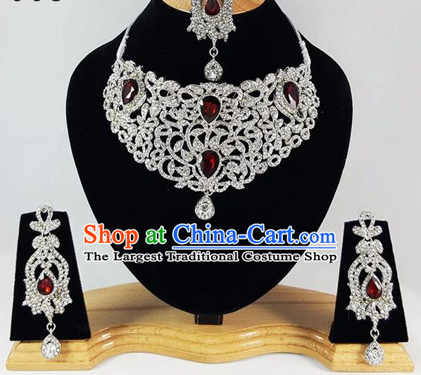 Indian Traditional Bollywood Court Zircon Necklace Earrings and Eyebrows Pendant India Princess Jewelry Accessories for Women