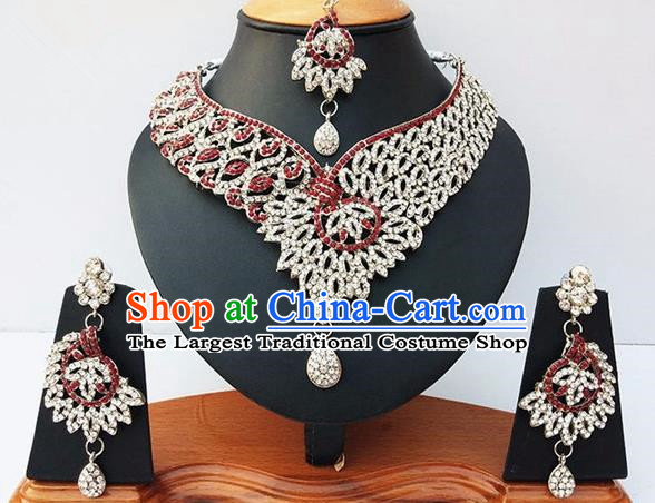 Indian Traditional Bollywood Court Crystal Necklace Earrings and Eyebrows Pendant India Princess Jewelry Accessories for Women