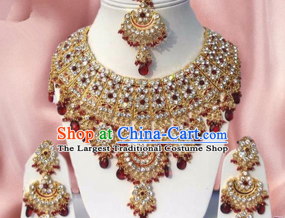 Indian Traditional Bollywood Golden Necklace Earrings and Eyebrows Pendant India Princess Jewelry Accessories for Women