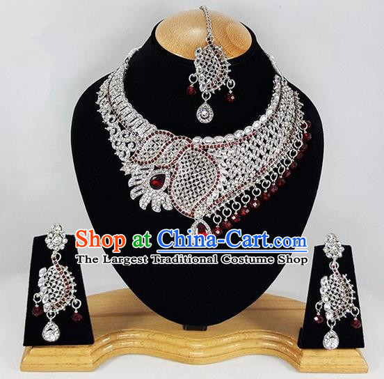 Indian Traditional Bollywood Argent Necklace Earrings and Eyebrows Pendant India Princess Jewelry Accessories for Women