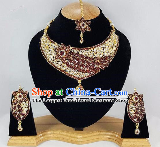 Indian Traditional Bollywood Necklace Earrings and Eyebrows Pendant India Princess Jewelry Accessories for Women