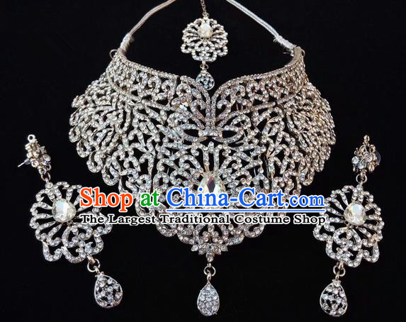 Traditional Indian Bollywood Zircon Necklace Earrings and Eyebrows Pendant India Princess Jewelry Accessories for Women