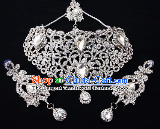 Traditional Indian Bollywood Necklace Earrings and Eyebrows Pendant India Princess Jewelry Accessories for Women
