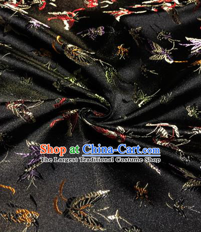 Chinese Traditional Butterfly Pattern Design Black Brocade Hanfu Silk Fabric Tang Suit Fabric Material