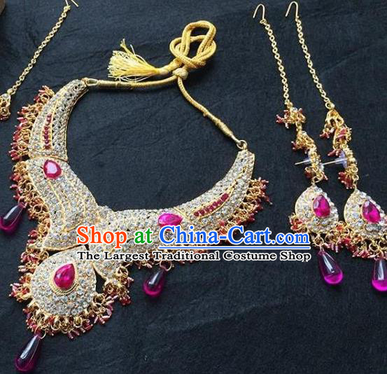 Traditional Indian Bollywood Jewelry Accessories India Princess Rosy Crystal Necklace Earrings and Eyebrows Pendant for Women