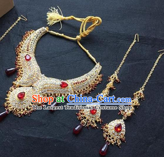 Traditional Indian Bollywood Jewelry Accessories India Princess Red Crystal Necklace Earrings and Eyebrows Pendant for Women
