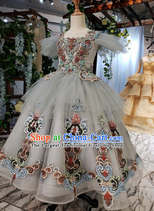 Top Grade Customize Embroidered Grey Veil Full Dress Court Princess Waltz Dance Costume for Women