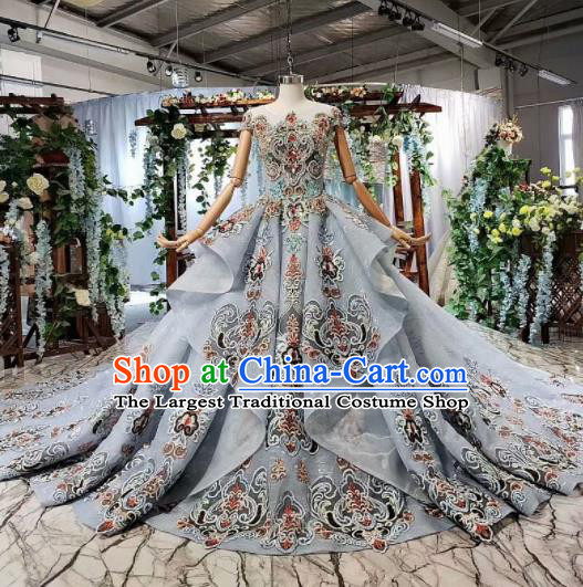 Top Grade Customize Embroidered Blue Trailing Full Dress Court Princess Waltz Dance Costume for Women