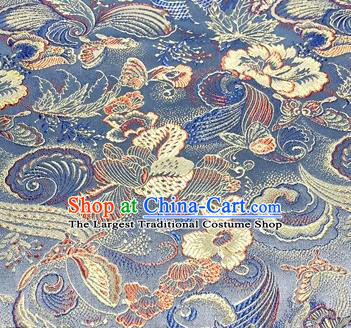 Chinese Traditional Hanfu Silk Fabric Classical Butterfly Peony Pattern Design Blue Brocade Tang Suit Fabric Material