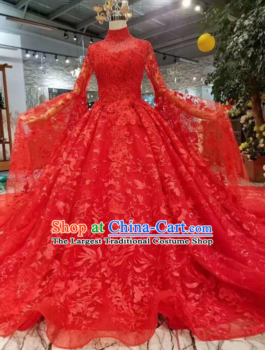 Chinese Customize Court Embroidered Red Lace Trailing Wedding Dress Top Grade Bride Costume for Women