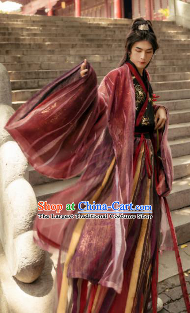 Asian Chinese Jin Dynasty Swordsman Historical Costume Ancient Nobility Childe Traditional Hanfu Clothing for Men