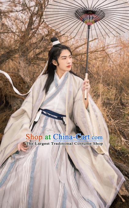 Asian Chinese Jin Dynasty Prince Historical Costume Ancient Swordsman Traditional Hanfu Clothing for Men