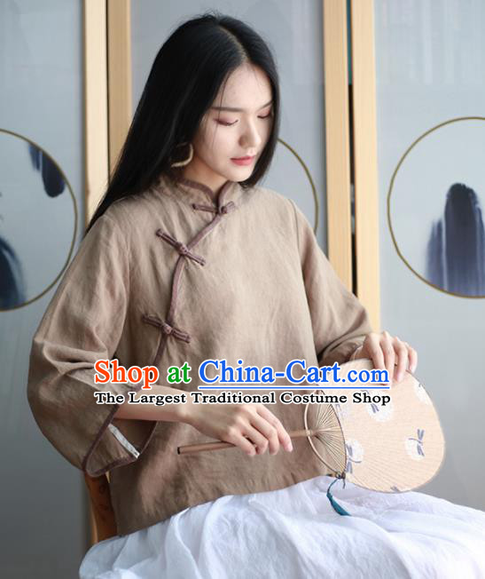 Chinese Traditional National Costume Brown Linen Blouse Tang Suit Upper Outer Garment for Women