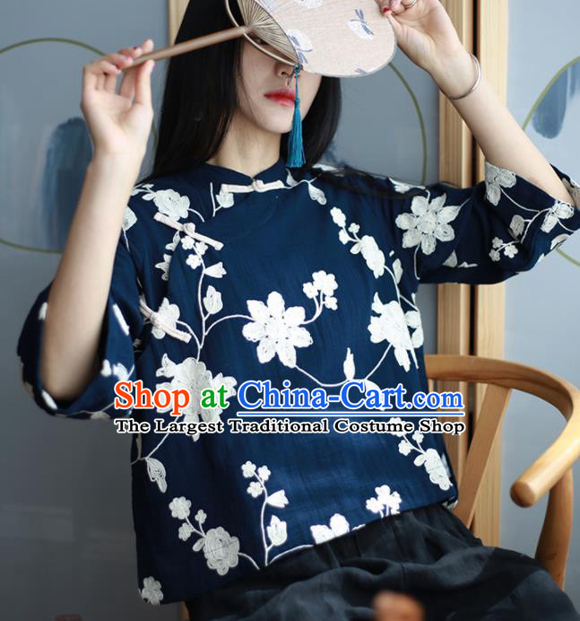 Chinese Traditional National Costume Embroidered Navy Blouse Tang Suit Upper Outer Garment for Women