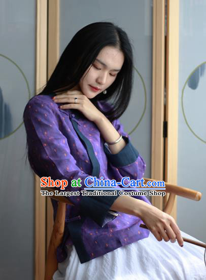 Chinese Traditional National Costume Purple Linen Blouse Tang Suit Upper Outer Garment for Women
