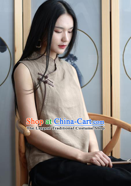 Chinese Traditional National Costume Khaki Linen Vest Tang Suit Upper Outer Garment for Women