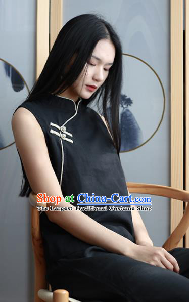 Chinese Traditional National Costume Black Linen Vest Tang Suit Upper Outer Garment for Women