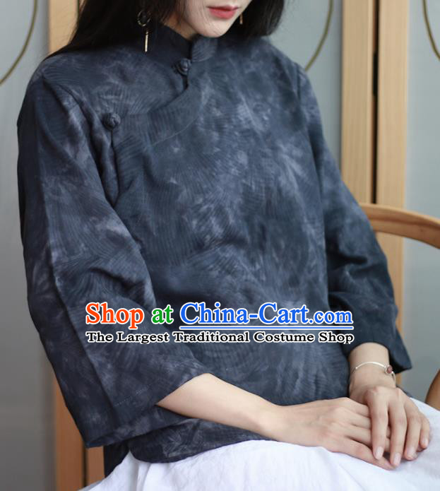 Chinese Traditional National Costume Printing Navy Blouse Tang Suit Upper Outer Garment for Women