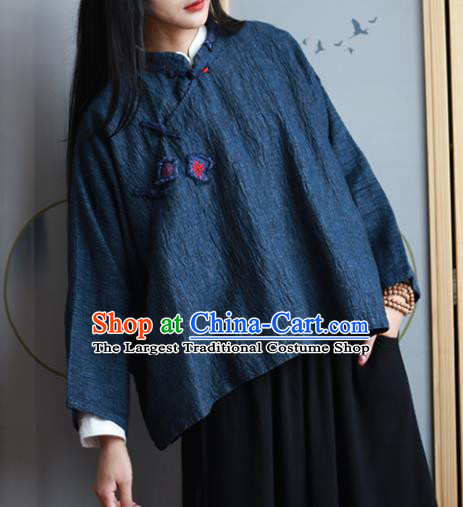 Chinese Traditional National Costume Navy Linen Blouse Tang Suit Upper Outer Garment for Women
