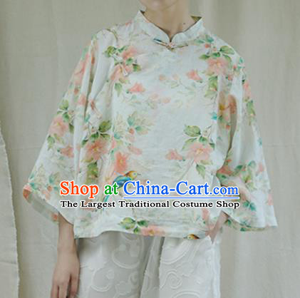 Chinese Traditional National Costume Printing White Shirt Tang Suit Upper Outer Garment for Women