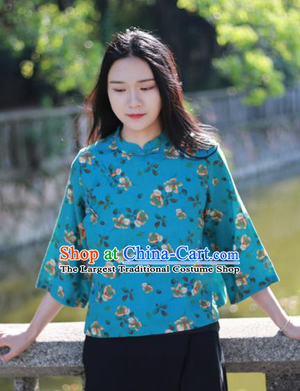 Chinese Traditional National Costume Printing Flowers Blue Shirt Tang Suit Upper Outer Garment for Women