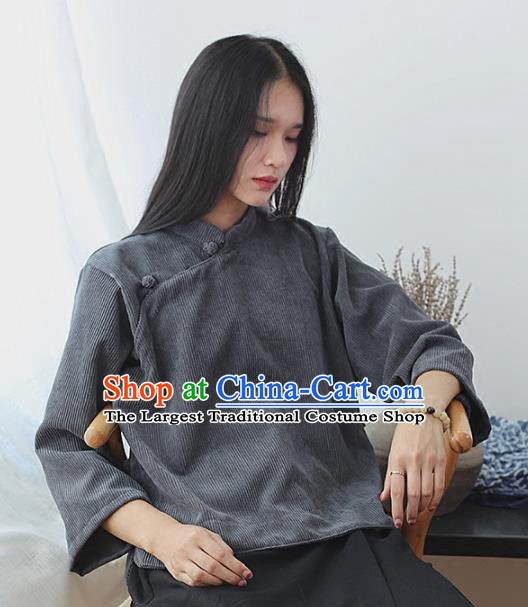 Chinese Traditional National Costume Grey Corduroy Jacket Tang Suit Upper Outer Garment for Women