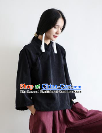 Chinese Traditional National Costume Black Corduroy Jacket Tang Suit Upper Outer Garment for Women