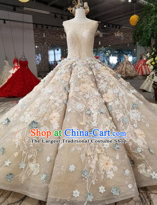 Customize Handmade Princess Fantasy Embroidered Full Dress Wedding Court Bride Costume for Women